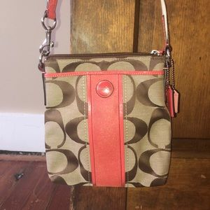 Coach cross body coral tan and brown